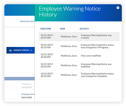 employee warning notice history
