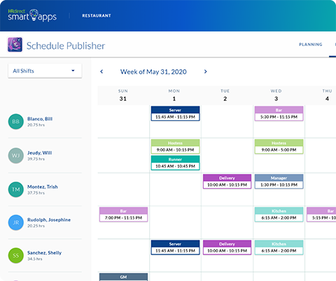 schedule publisher app's published page showing scheduled employees and their schedule for that week in a calendar format