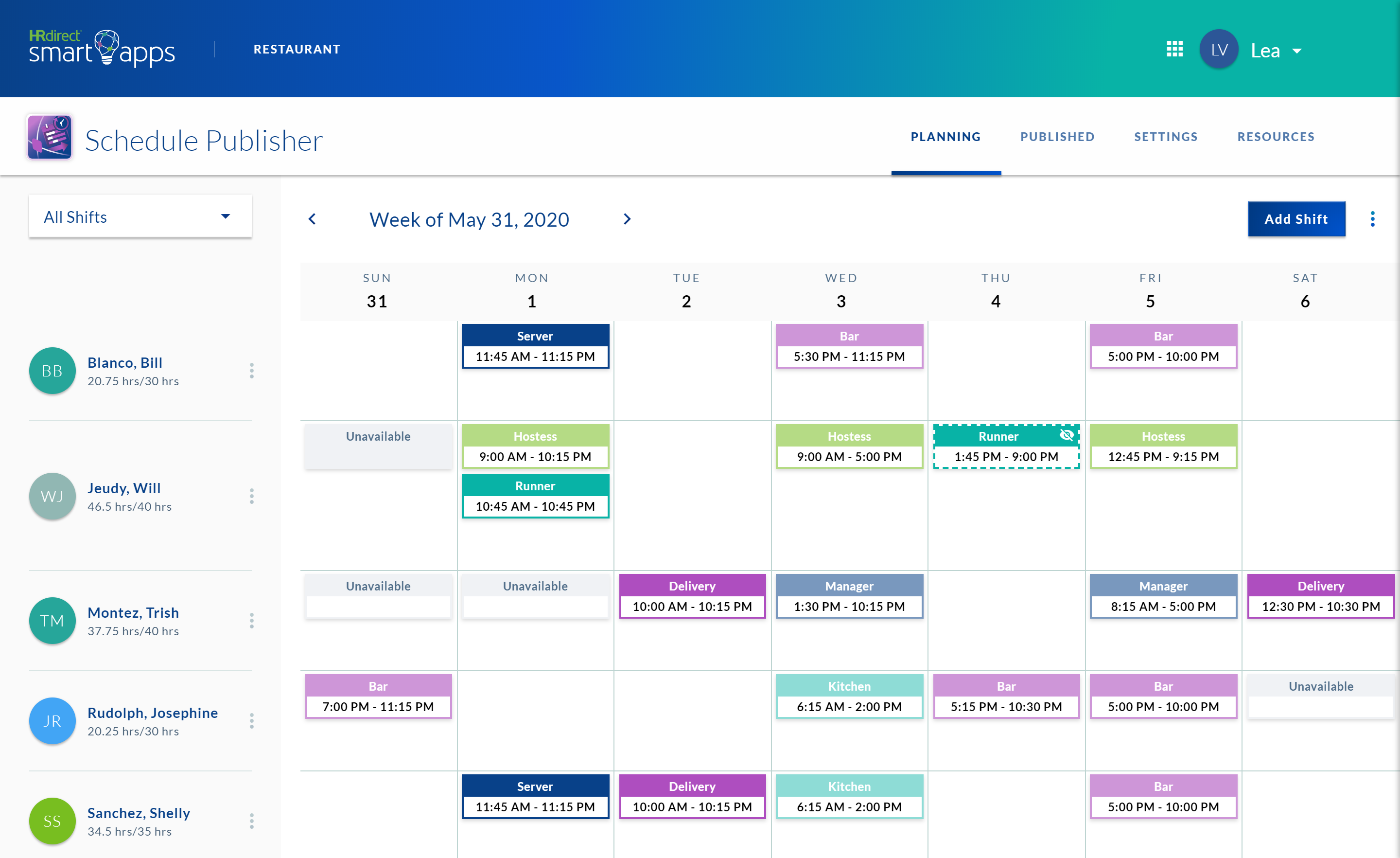schedule publisher app planning page displaying a calendar with scheduled shift blocks for that week