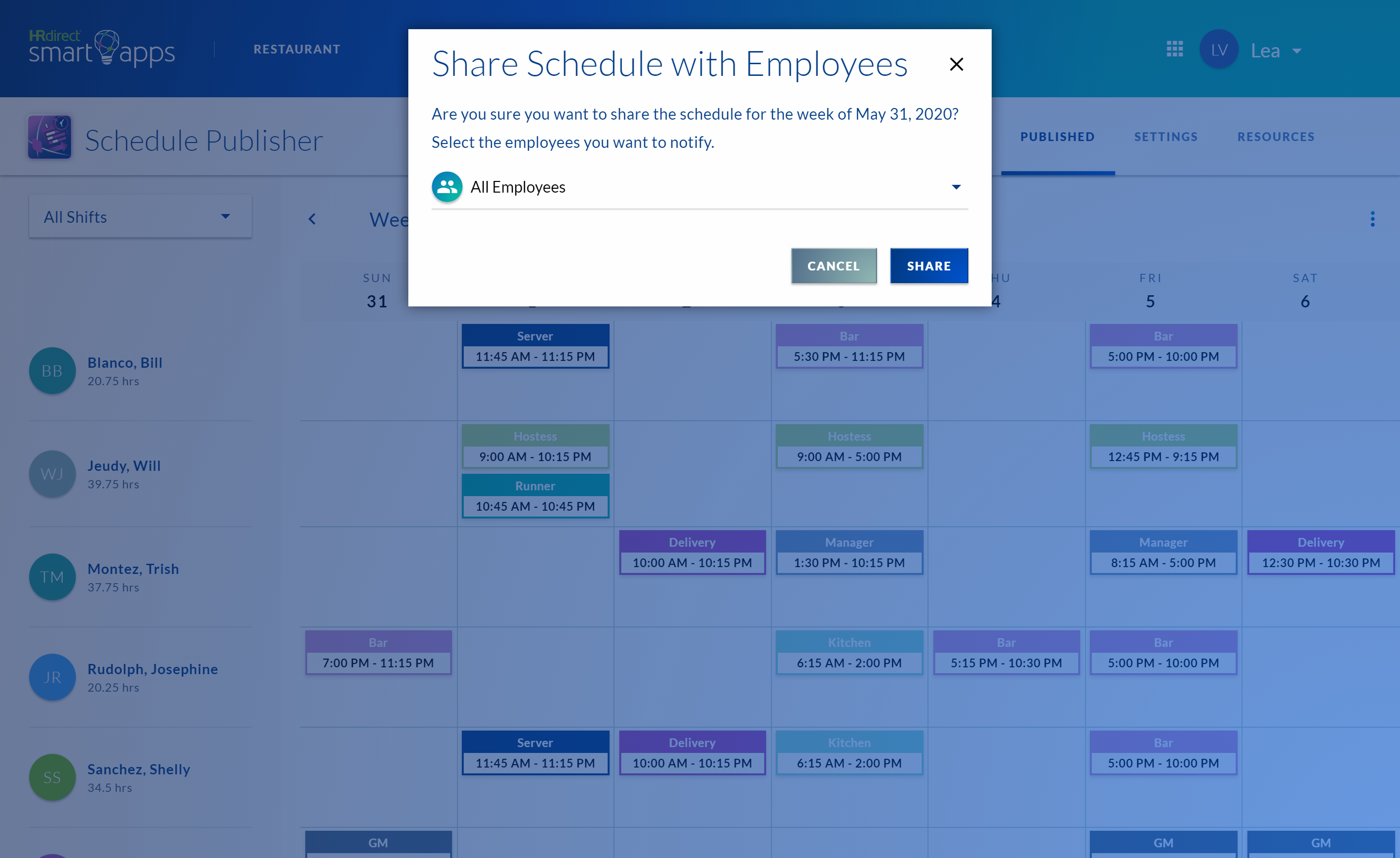 a modal dialog on the published page asking the user if they want to share schedule with employees with a dropdown to either select all employees or select them individually