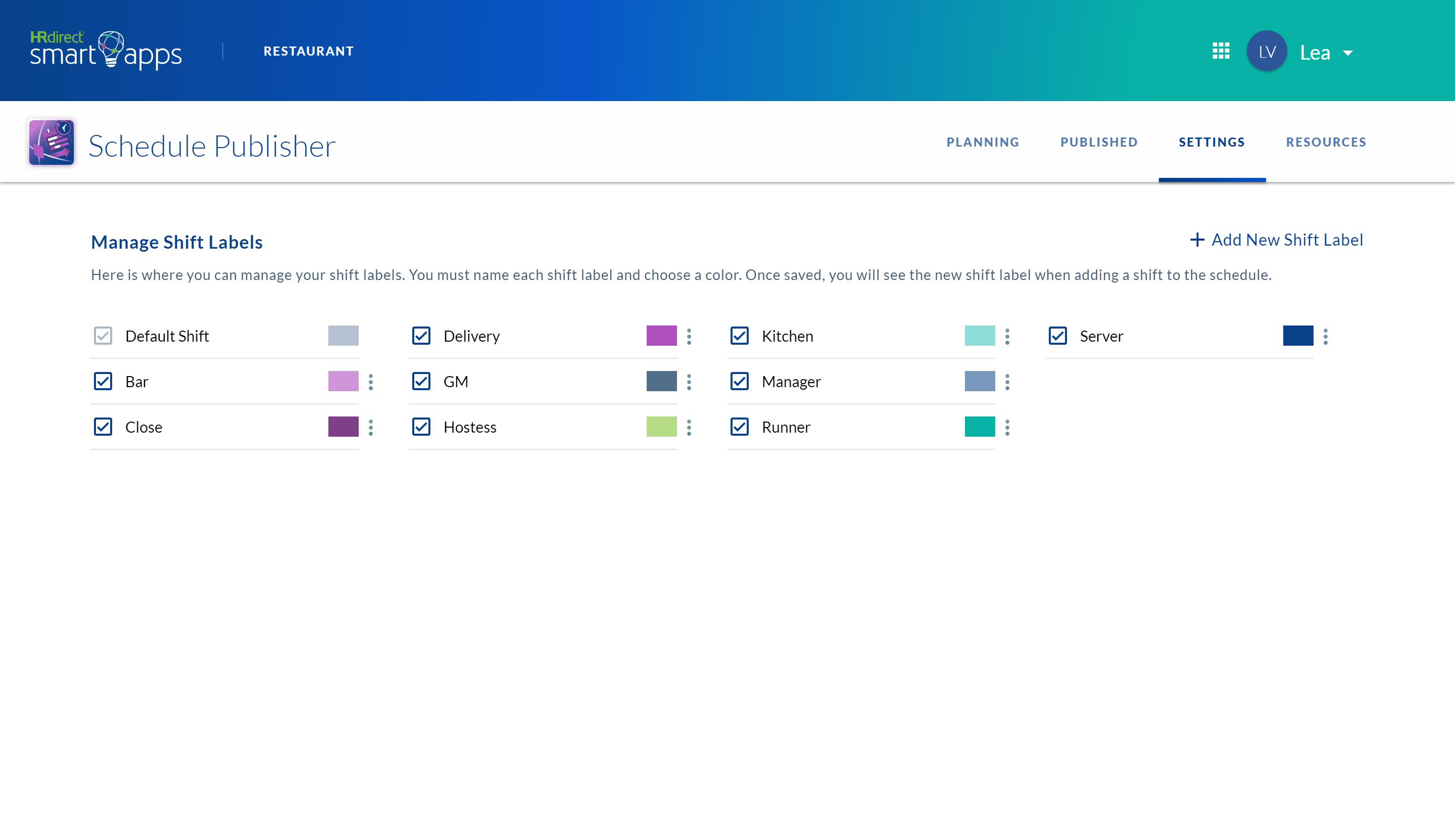 schedule publisher app's setting page where you can manage shift labels and color code them